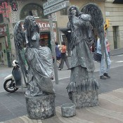 Human statues silver angels