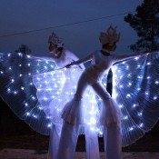 Stilts with leds wings for events
