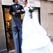 Stilts groom-bride