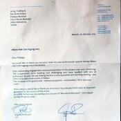 Carta de agradecimiento a Bdance