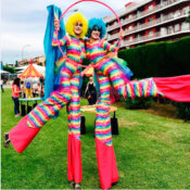 Colored stilts walkers