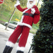 Santa Klaus on stilts